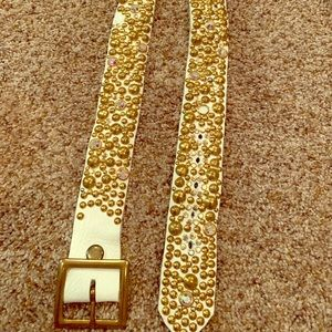 Gold studded white leather belt with rhinestones